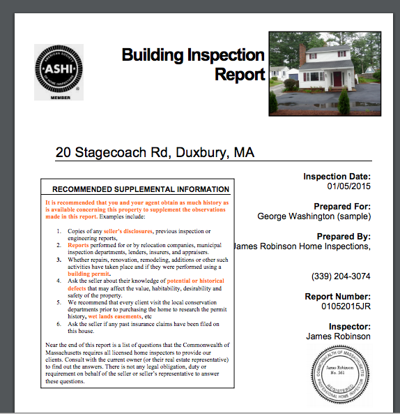 Home Inspection Report Sample James Robinson Home Inspections – Home Inspection Report Template
